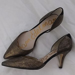 "Sam Edelman ""Opal Dorsay"" Pumps 9 Gold and Black"